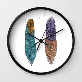 2 Feathers Wall Clock
