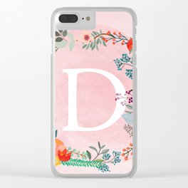 Flower Wreath with Personalized Monogram Initial Letter D on Pink Watercolor Paper Texture Artwork Clear iPhone Case
