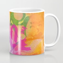Cool colorful graffiti print in electric bright tones with two strange faces Coffee Mug
