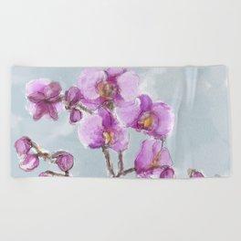Watercolor Orchids Beach Towel