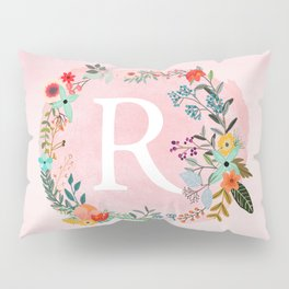 Flower Wreath with Personalized Monogram Initial Letter R on Pink Watercolor Paper Texture Artwork Pillow Sham