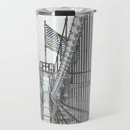 Brooklyn Bridge Cables Abstract Travel Mug