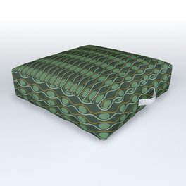 Geometric pattern with waves and pebbles in green Outdoor Floor Cushion