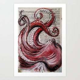 octo on vintage dictionary page Art Print