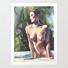 Original erotic watercolor painting NUDE GIRL POSING By the pool Art Print