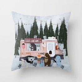 ice cream time Throw Pillow