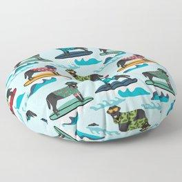 Black Labrador surfing dog breed pattern Floor Pillow