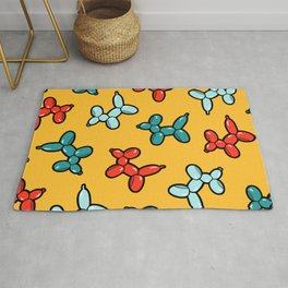 Balloon Animal Dogs Pattern in Yellow Rug