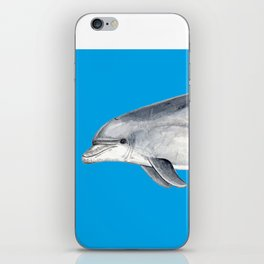 Bottlenose dolphin blue background iPhone Skin