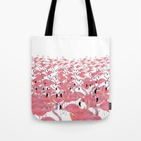 flamingos Tote Bags featuring Flamingos by Lydia Coventry