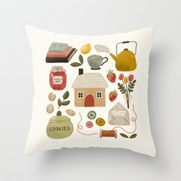 Summer Cottage Days Throw Pillow