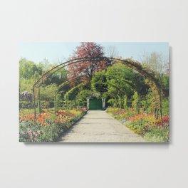 Monet's Flower Garden Metal Print