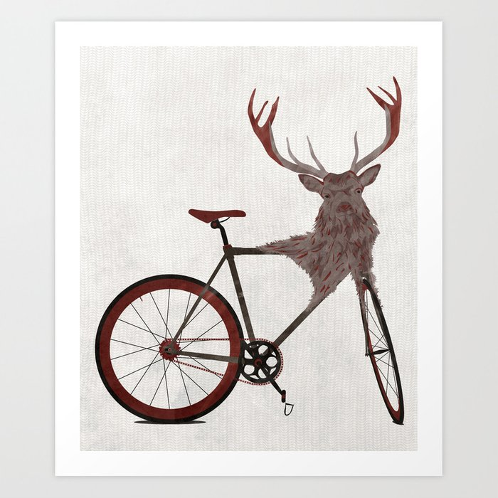 Stag Bike Art Print