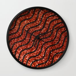 Red Glitter With Black Squiggle Pattern Wall Clock