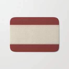 Bright Red Linen Holiday Stripes Bath Mat
