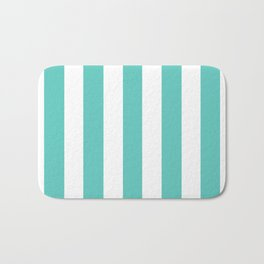 Bayside - solid color - white vertical lines pattern Bath Mat