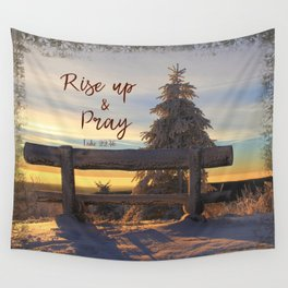 Rise up and Pray Verse Quote Snow Sunrise Wall Tapestry
