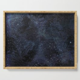 Antique World Star Map Navy Blue Serving Tray