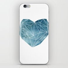 Heart Graphic Watercolor Blue iPhone & iPod Skin