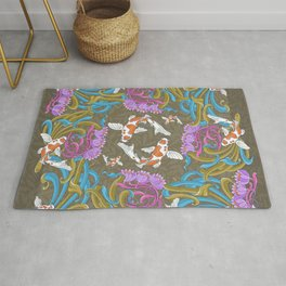 Waterlily and koi pattern Rug