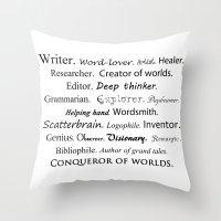 writer Throw Pillows featuring Writer by Rebekah Joan