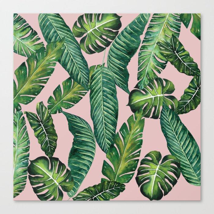 Jungle Leaves, Banana, Monstera II Pink #society6 Leinwanddruck