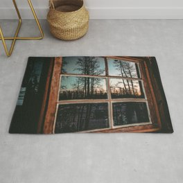 Lumberjack Cabin Window // Grainy Reflection of the Sunset and Trees Rug