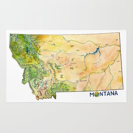 Montana Painted Map Rug