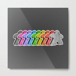 Meeple Rainbow Row Metal Print