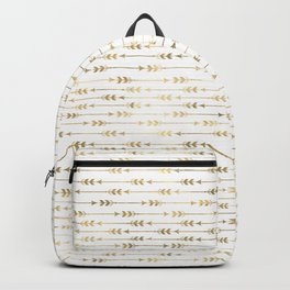 White & Gold Arrow Pattern Backpack