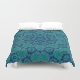 Jade , Aqua and Turquoise Symmetrical Pattern Duvet Cover