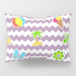 Summertime Girly Beach Pattern | Kids Pink Chevron Pop Art Pillow Sham