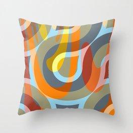 Nouveau Retro Graphic Brown Orange and Blue Throw Pillow