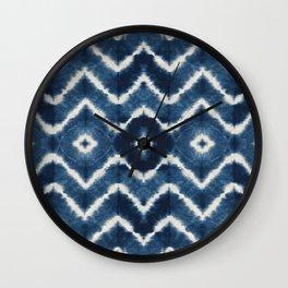 Shibori, tie dye, chevron print Wall Clock