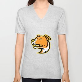 American Staffordshire Terrier Head Mascot Unisex V-Neck