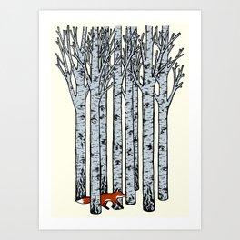 Fox in the Birches Art Print