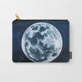 Full Moon Mixed Media Painting Carry-All Pouch