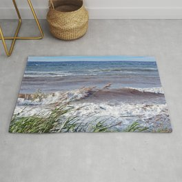 Waves Rolling up the Beach Rug