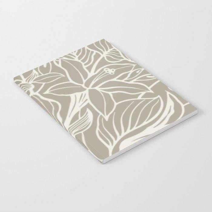 Gray Grey Alabaster Floral Notebook