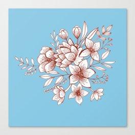 Line Flower Bouquet Canvas Print