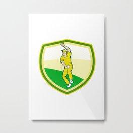 Cricket Player Bowling Crest Cartoon Metal Print