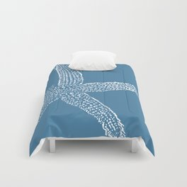 Starfish-white on blue Comforters