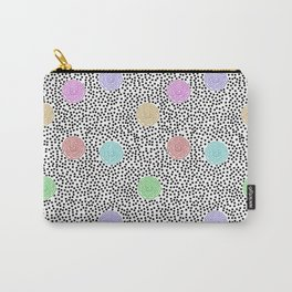 BOJANGLES, VINTAGE RETRO DOTS: MULTI-COLOR and WHITE Carry-All Pouch