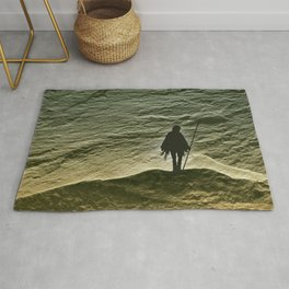 Standing On A Rocky Precipice - But Still Standing Rug