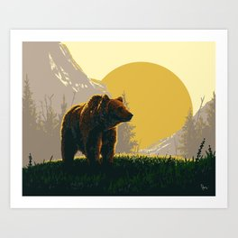 Early Morning Grizzly Bear Art Print
