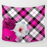 plaid Wall Tapestries featuring Plaid+, pink by MehrFarbeimLeben