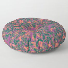 Abstract pattern in plum, green and pink Floor Pillow