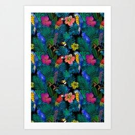 Tropical Birds and Botanicals Art Print
