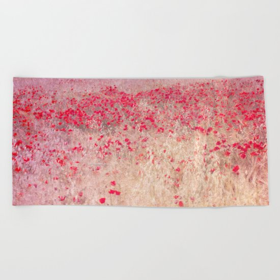 Fields of poppies Beach Towel