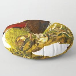 Great American Hen & Young John James Audubon Scientific Birds Of America Illustration Floor Pillow